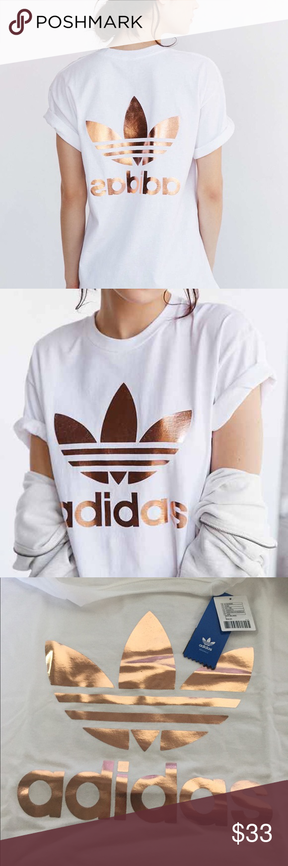 Adidas Originals Rose Gold White Logo Tee T Shirt, Women's