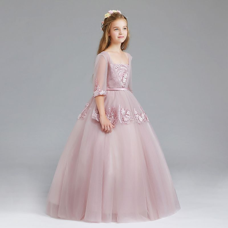 Boho Blush Pink Wedding Dresses 2017 Pretty 3d Flower Lace: Vintage Blushing Pink Flower Girl Dresses 2017 Ball Gown