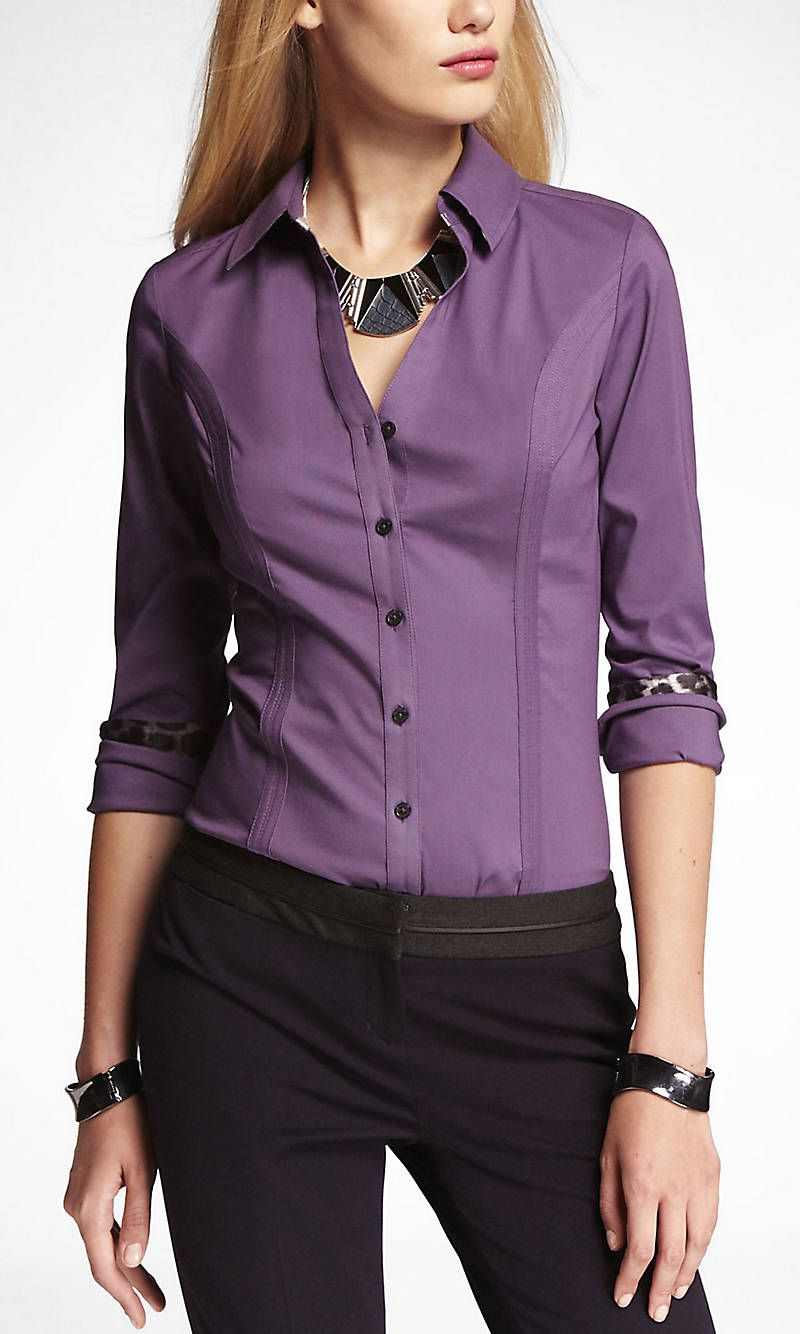 The Original Long Sleeve Essential Shirt From Express Clothes Work Outfits Women Clothes For Women [ 1334 x 800 Pixel ]