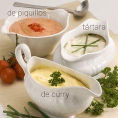 Aquí tienes muchas ideas para preparar mayonesa aromatizada y aderezada con especias. Te indico también el tipo de platos a los que pueden acompañar.