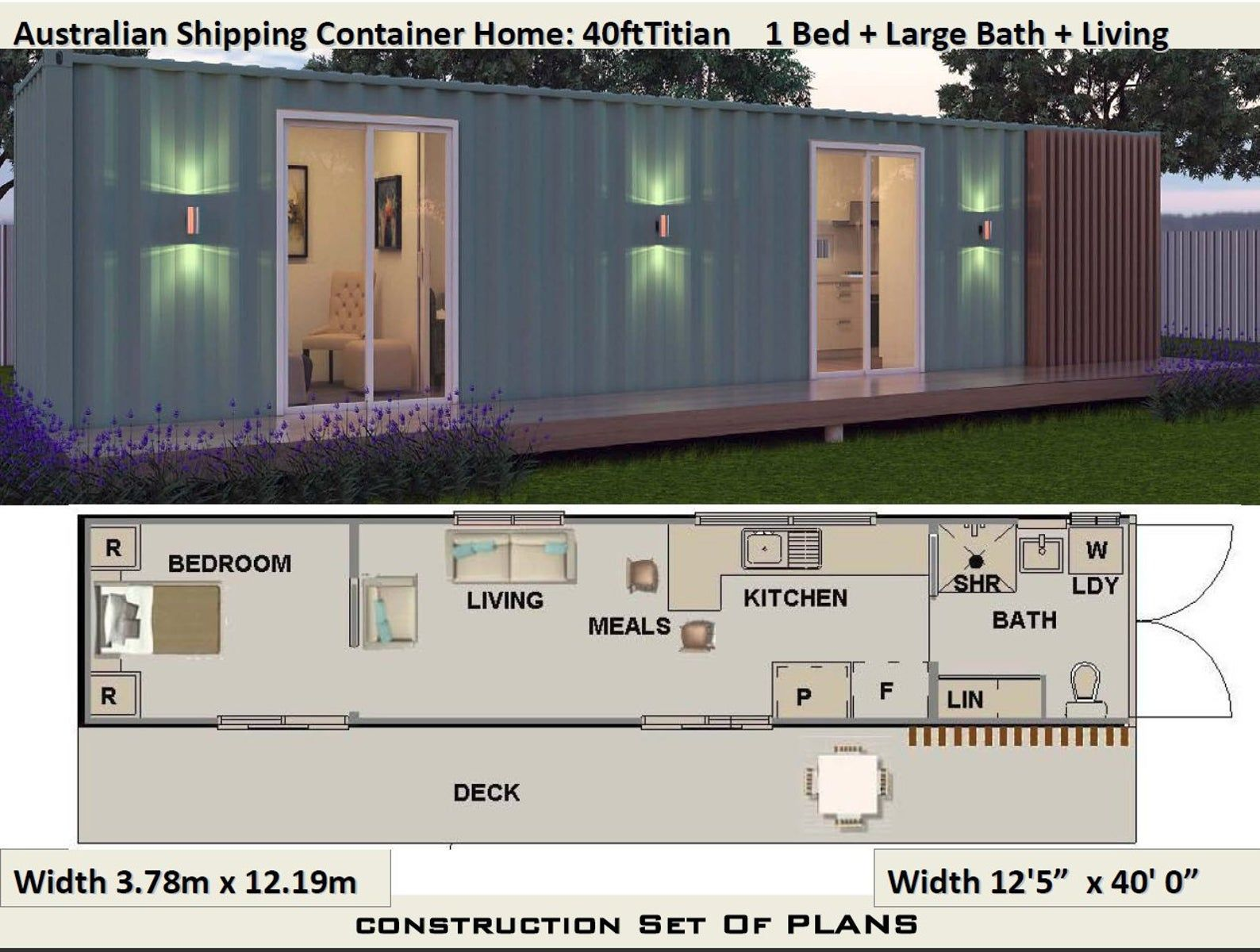 40 Foot Shipping Container Home Full Construction House Etsy Container House Shipping Container House Plans Container House Plans