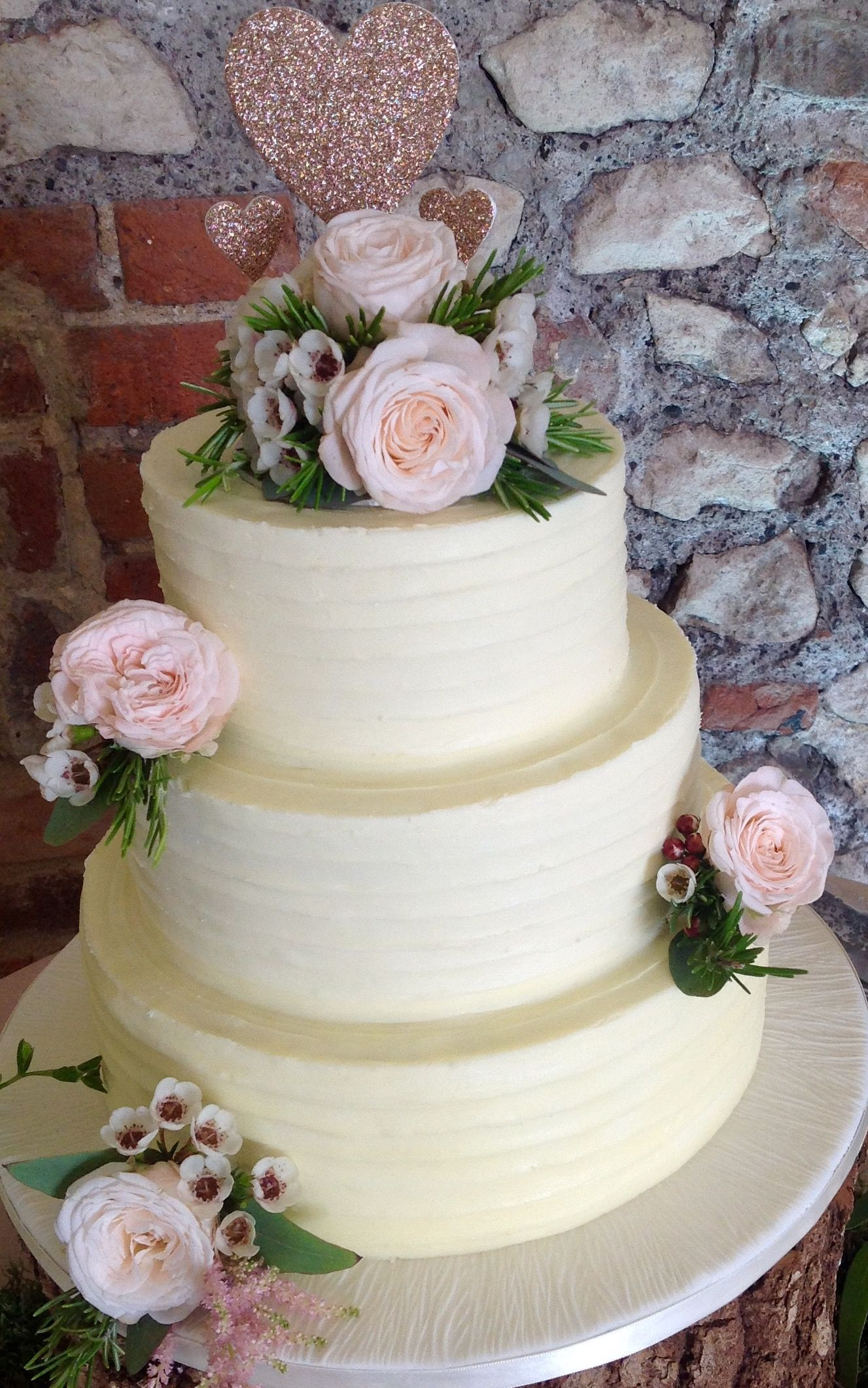 3 tier Buttercream wedding cake with fresh flowers by crafty-cakes ...