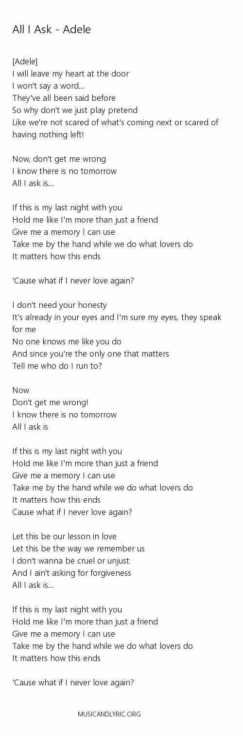 Lyric all i know lyrics : Adele - All I Ask lyrics, pdf - Musicandlyrics | Adele | Pinterest ...