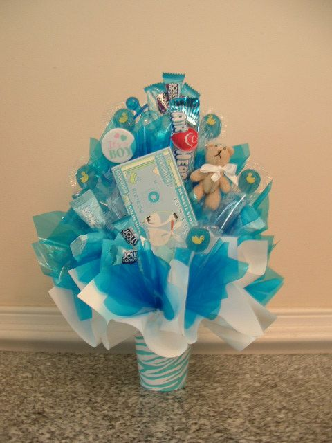 Its A Boy Candy Bouquet Perfect Edible Centerpiece At Baby Shower