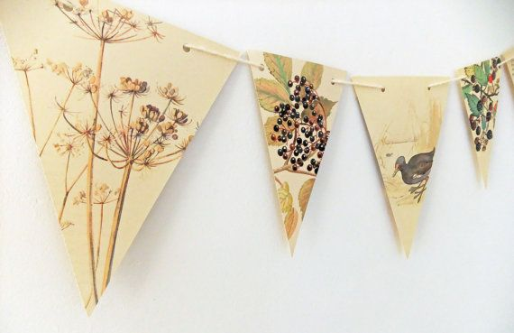 Autumn bunting - fall bunting - fall garland - Upcycled Paper Bunting