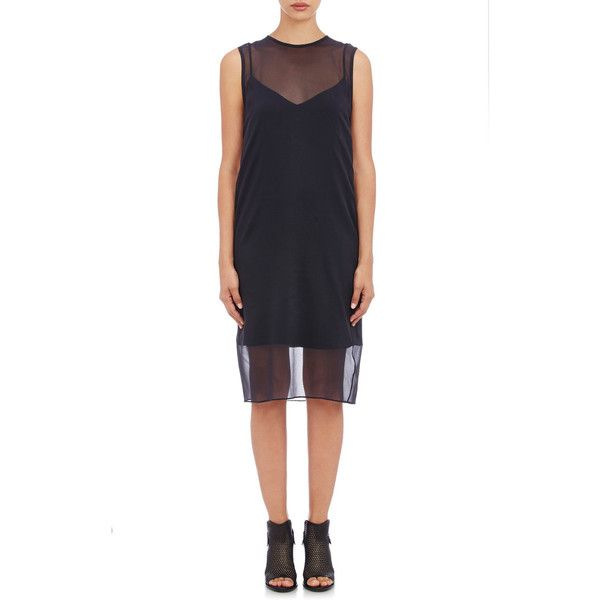 Rag & Bone Eliza Dress ($425) ❤ liked on Polyvore featuring dresses, colorless, shift dress, chiffon cocktail dress, white spaghetti strap dress, sleeveless dress and sleeveless shift dress