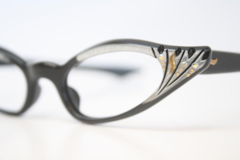 313f6d0f3a Unused Black SIlver Rhinestone Cat Eye Glasses Cateye Frames Vintage Eyewear  1960s Eyeglasses New Old Stock