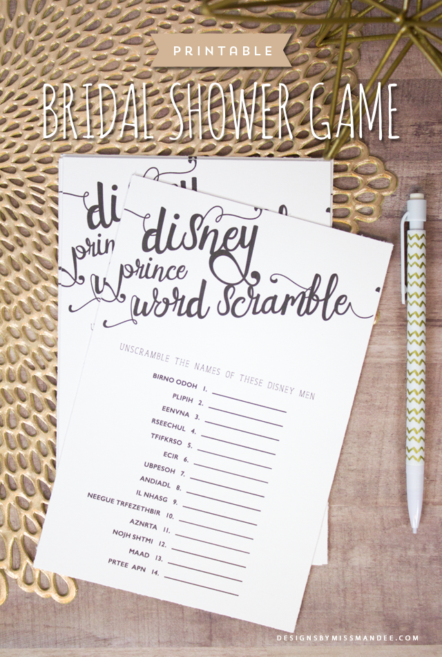 bridal shower game disney prince word scramble this matching game about disneys leading men is perfect for the disney loving bride
