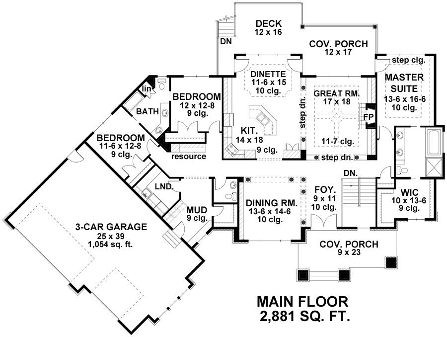 Country Cottage 1 Story House Plan With 3 Bedrooms And 2 Baths Bungalow Floor Plans Craftsman Style House Plans Bungalow House Plans