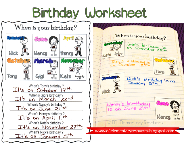 Esl When Is Your Birthday How Old Are You Part 3 Teacher Material Esl Elementary English Language Learners Activities