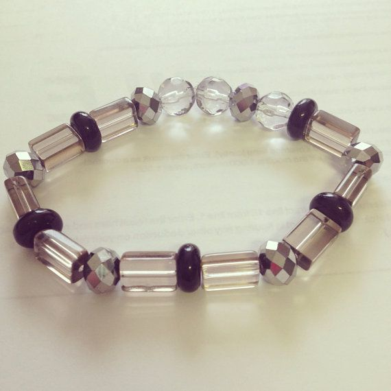 Black and silver beaded bracelet by Winterof45 on Etsy, $3.00