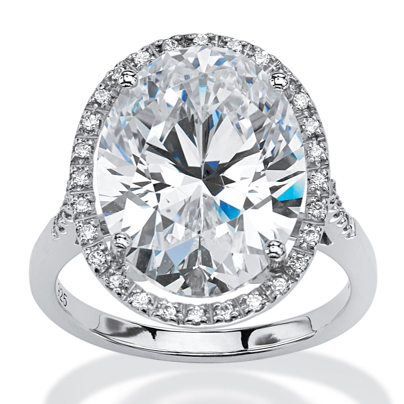 Platinum Over Sterling Silver Cubic Zirconia Halo Engagement Ring White Silver Engagement Rings Engagement Rings Cubic Zirconia Engagement Rings