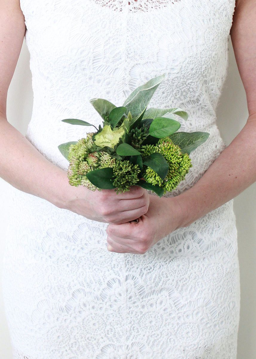 Faux Cabbage Sedum Lamb S Ear Bouquet In Two Tone Green 10 Tall