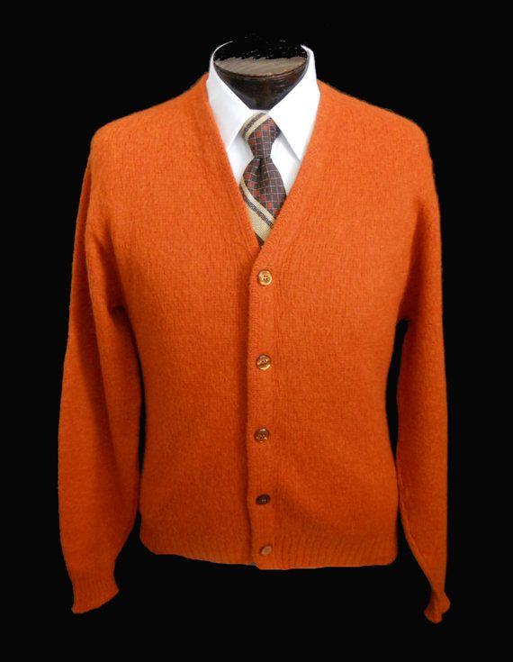 Vintage 60s Mens Golf Cardigan Sweater 1960s Mohair Blend Burnt