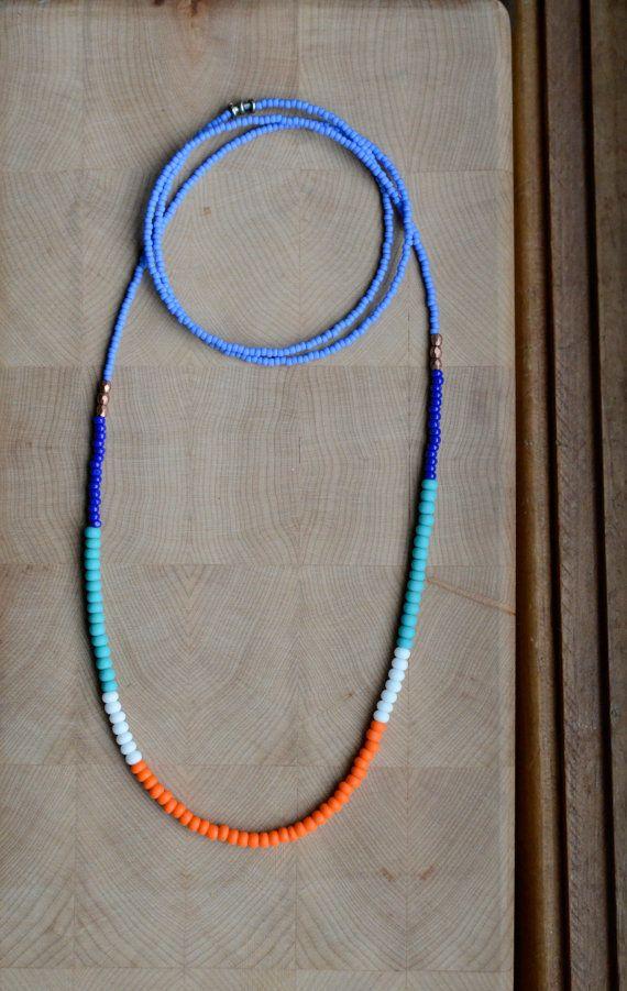 Long tribal seed bead necklace single strand by copperandbeige