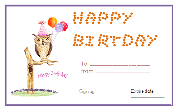 Owl Birthday Gift Certificate Template Pinned By WwwMyowlbarnCom
