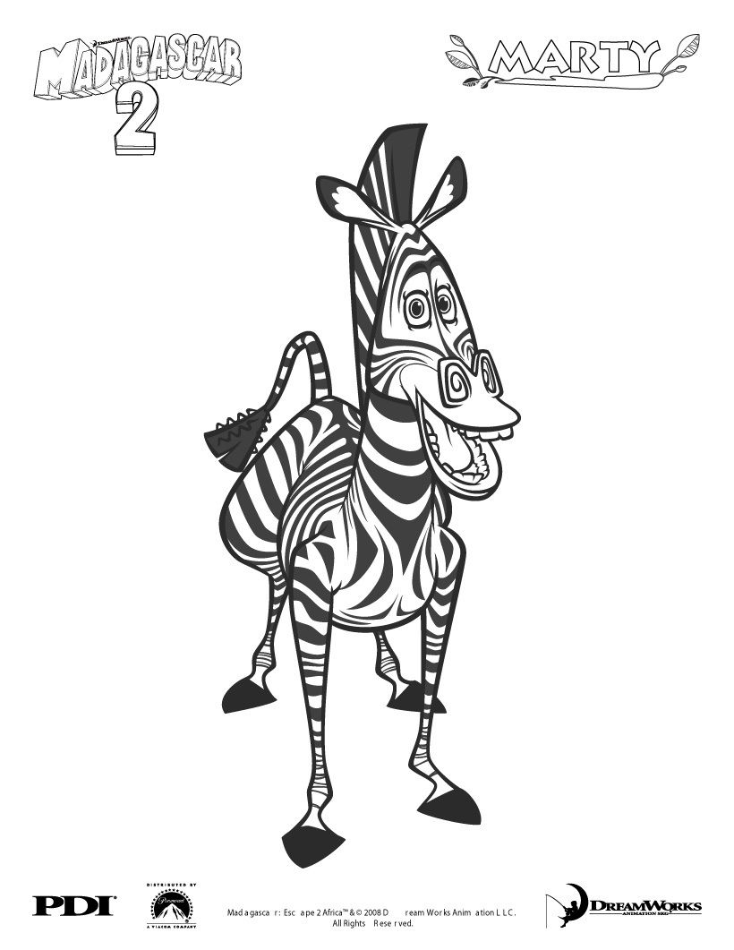Madagascar 2 : Marty the zebra coloring page - Coloring - Famous ...