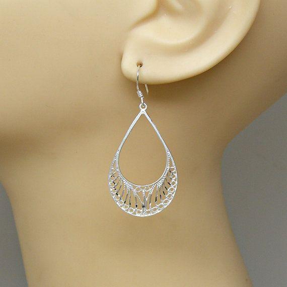 Sterling Silver Earrings Diamond Cut Filigree by GrassShackTrading