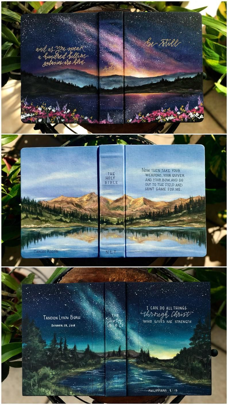 Fully Custom Landscape Bible // Custom Landscape Bible // Wedding Guestbook Bible // Hand Painted Bible