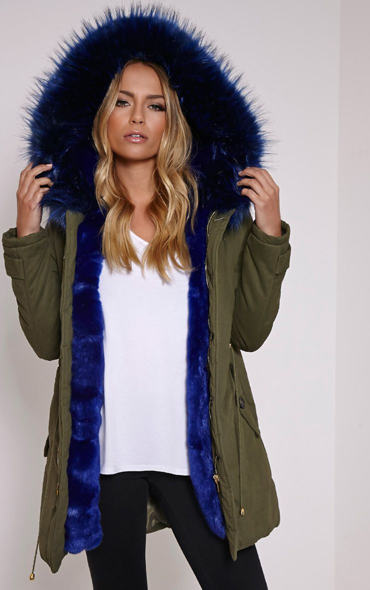 Pink Faux Fur Hooded Full Padded Parka Coat Khaki Green | dear