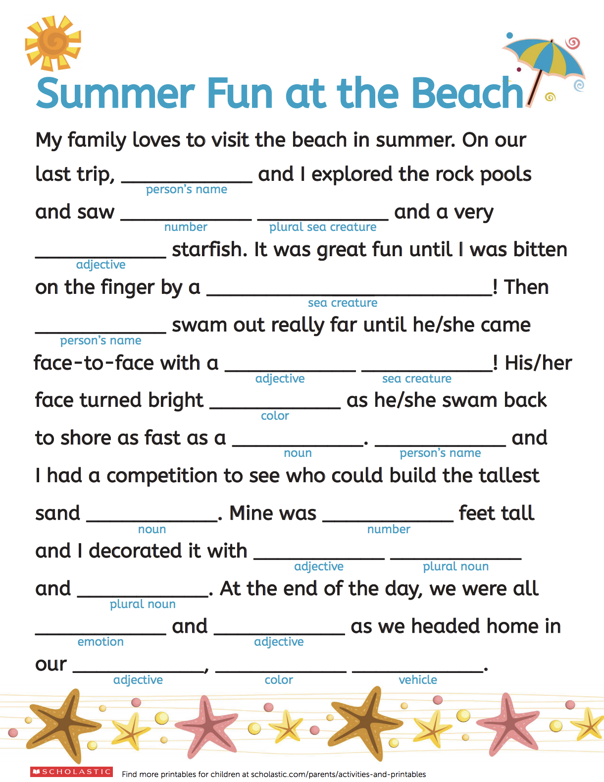 37d9d339fc Summer Fun With Mad Libs | Printables: Ages 3-5 | Mad libs, Summer ...