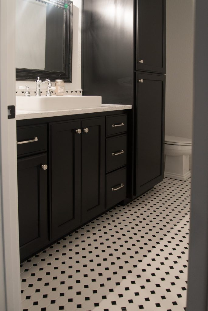 Black And White Octagon And Dot Tile Bathroom Floor And