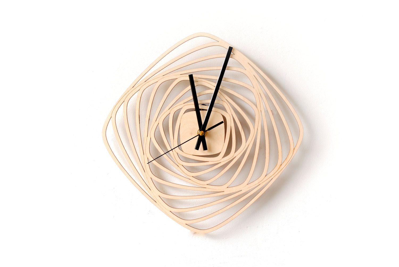 Modern Wall Clock Geometric Clock No Numbers By Snazzynestshop