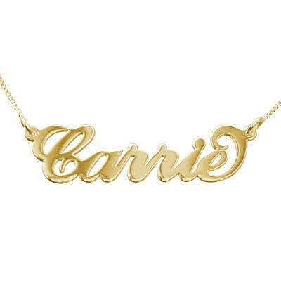 Personalized Jewelry 10k Gold Carrie Necklace Navne Halskaede Guld Halskaede Halskaeder