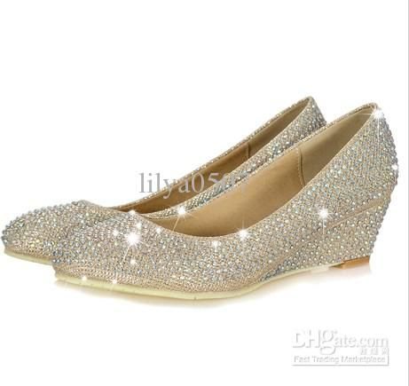 2017 New Style Silver Rhinestone Wedge Shoes Pumps Diamond Low Heels