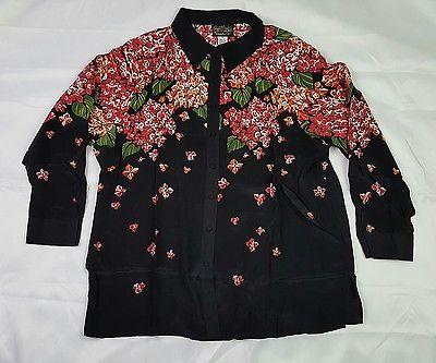 Bob Mackie Wearable Art 2X Silk Floral Blouse Beaded Red Orange Black Hydrangea