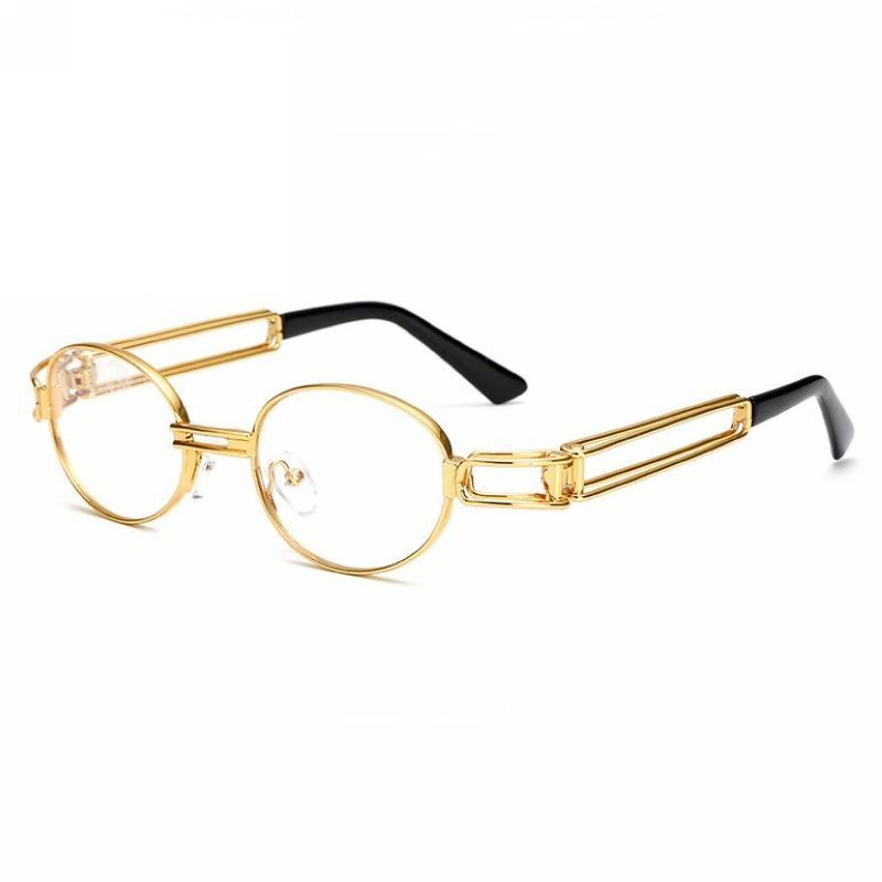 2a3d4c4025 Vintage Steampunk Oval Glasses Dual Metal Temples Gold-Tone Frame Clear Lens