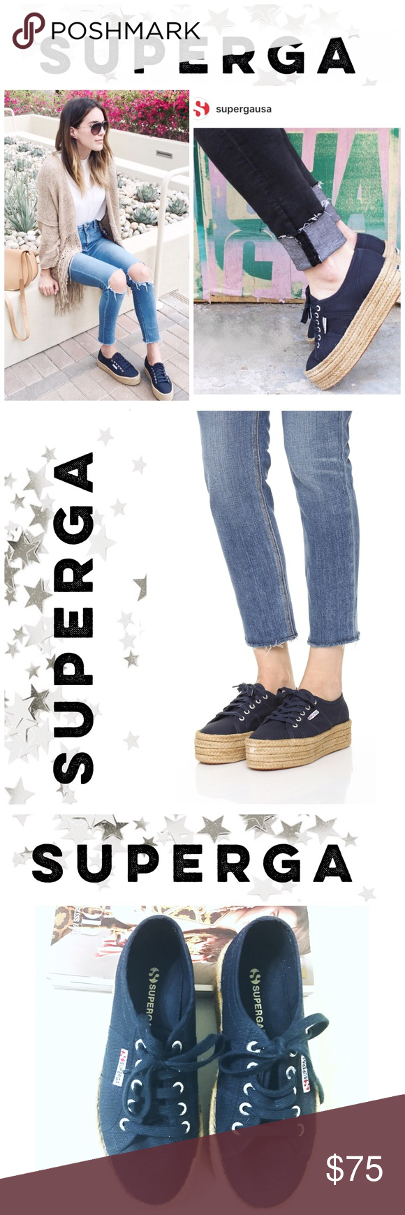 superga espadrilles sneakers in navy blue celebrity and