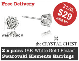 TWO pairs of 18K White Gold Plated Swarovski Crystal Elements Stud Earrings