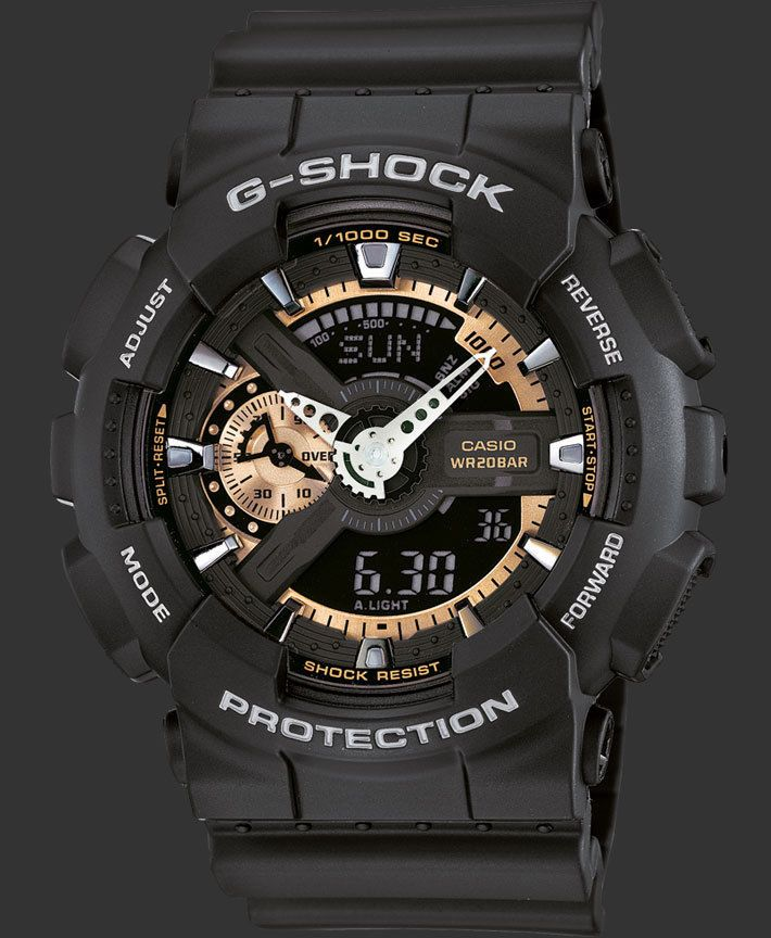 01c429f2703 New Casio G Shock GA 110RG 1A Analog Digital World Time Black Rose Gold  Watch in Jewelry   Watches