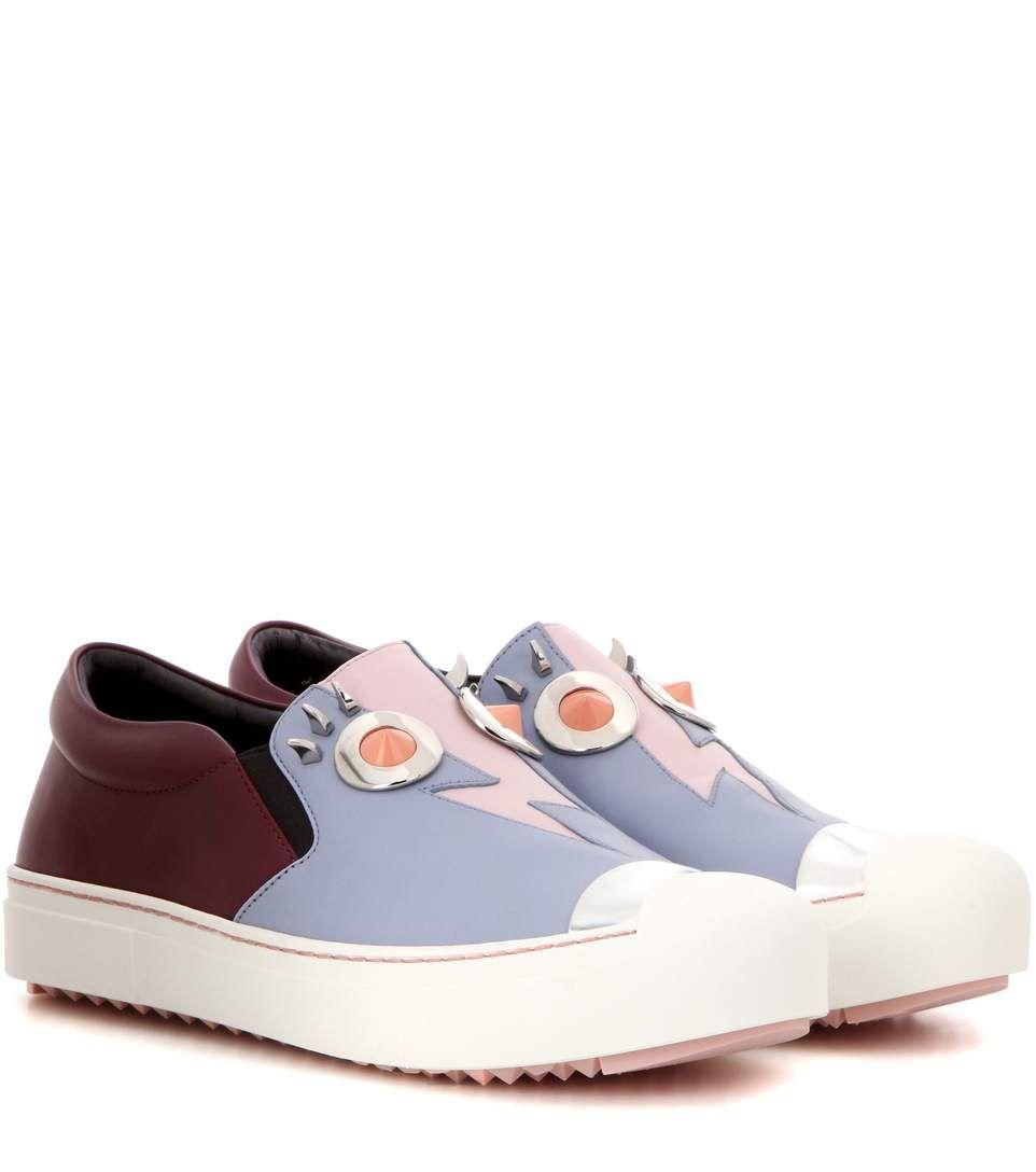 93c7fc9cab mytheresa.com - Embellished Leather Sneakers » Fendi * mytheresa ...