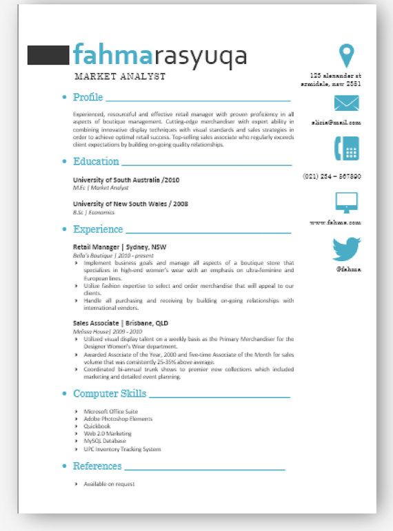Aqua Modern Microsoft Word Resume 1\2 p Template by Inkpower - microsoft word references template
