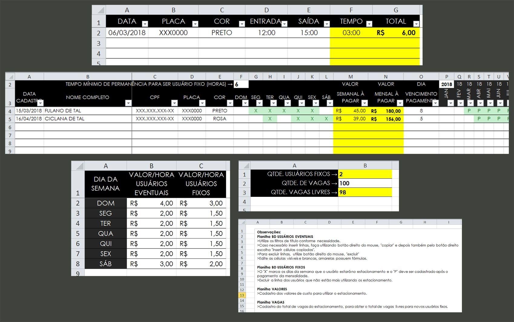 93f754771e93 Este arquivo de Excel traz a solução para o controle de estacionamento.  Permite cadastrar os usuários eventuais e fixos, obtendo pelos filtros  qualquer ...
