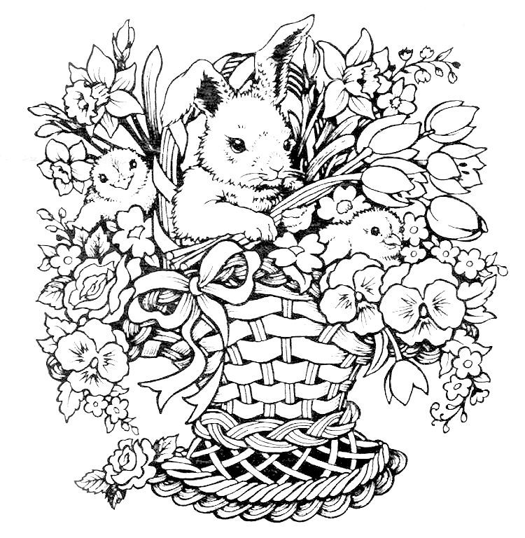 Rabbit Chicks Flowers Basket For Easter Color Page