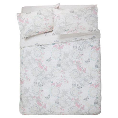 Tesco Ornate Birdcage Duvet Set Double Grey, Tesco Direct Double Bedding Sets