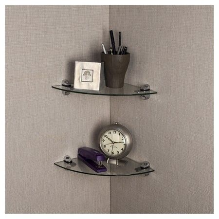 Target Floating Shelves Fair Danya B™ Smoke Glass Radial Floating Shelves With Chrome Brackets