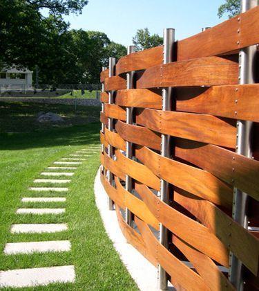 basket weave wood fence   Restaurant Design   Pinterest