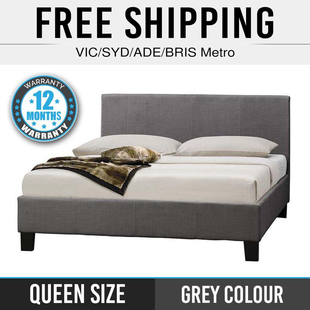 Queen Bed Frame Fabric Grey Bentwood Slats Mondeo ✪Pre Sale✪ ETA ...