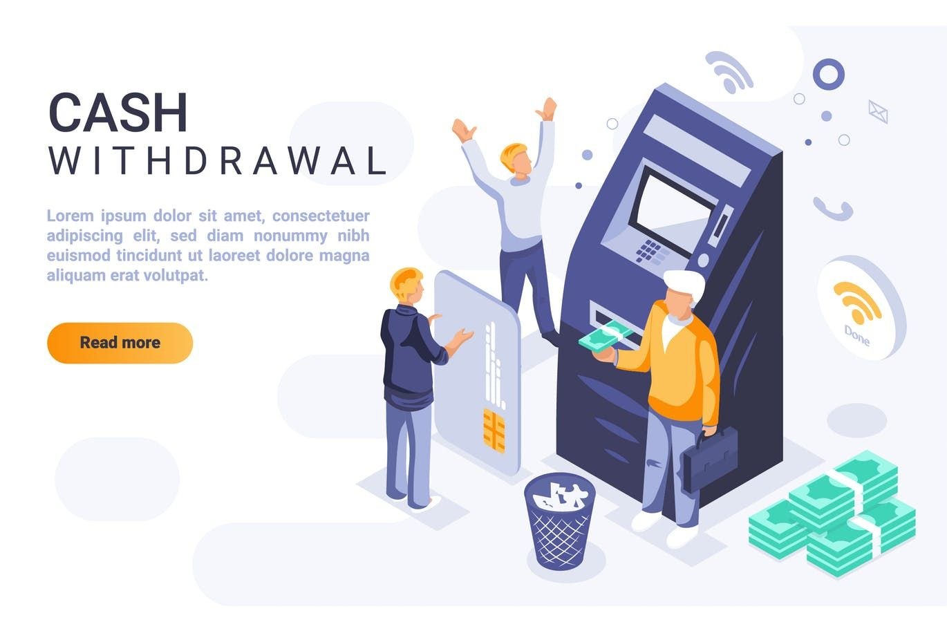 Cash withdrawal isometric header flat concept vector