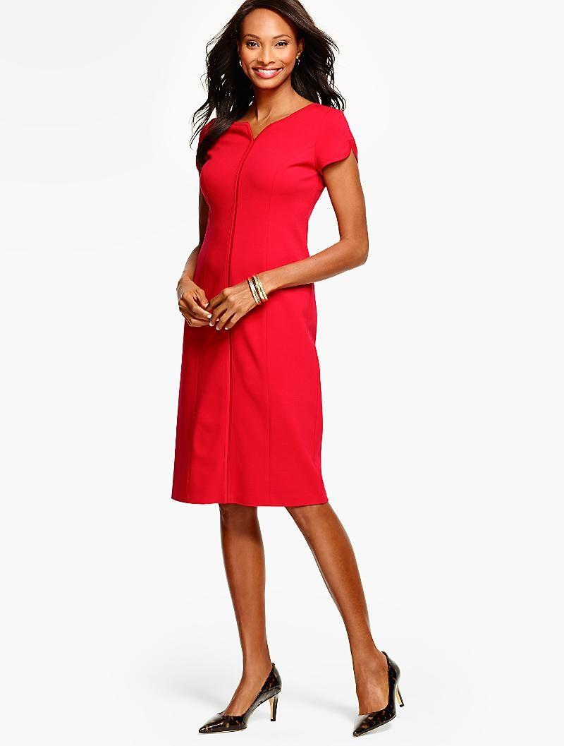 Ponte Tulip Sleeve Sheath Dress Solid Dresses Weekend Dresses Womens Dresses [ 1057 x 800 Pixel ]