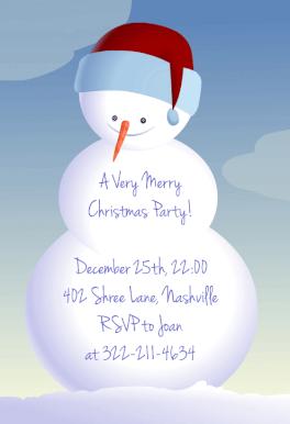 Snowman Free Printable Christmas Invitation Template Greetings