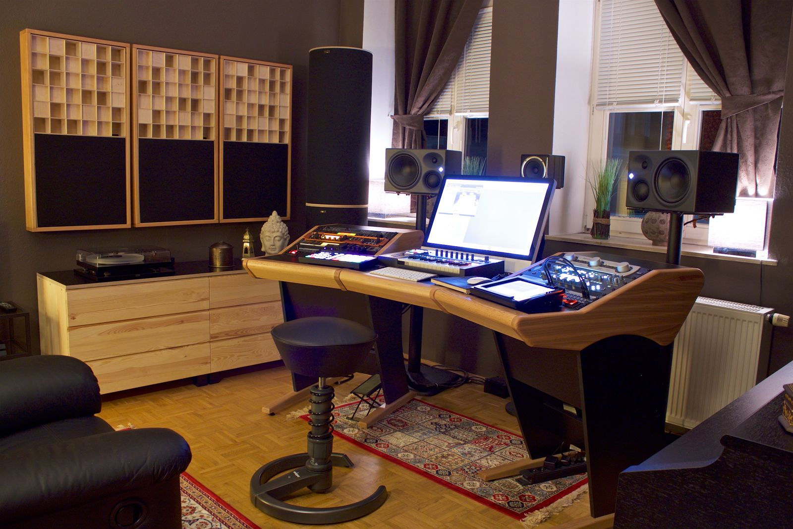 custom onda desk in beech at home studio of producer and audio