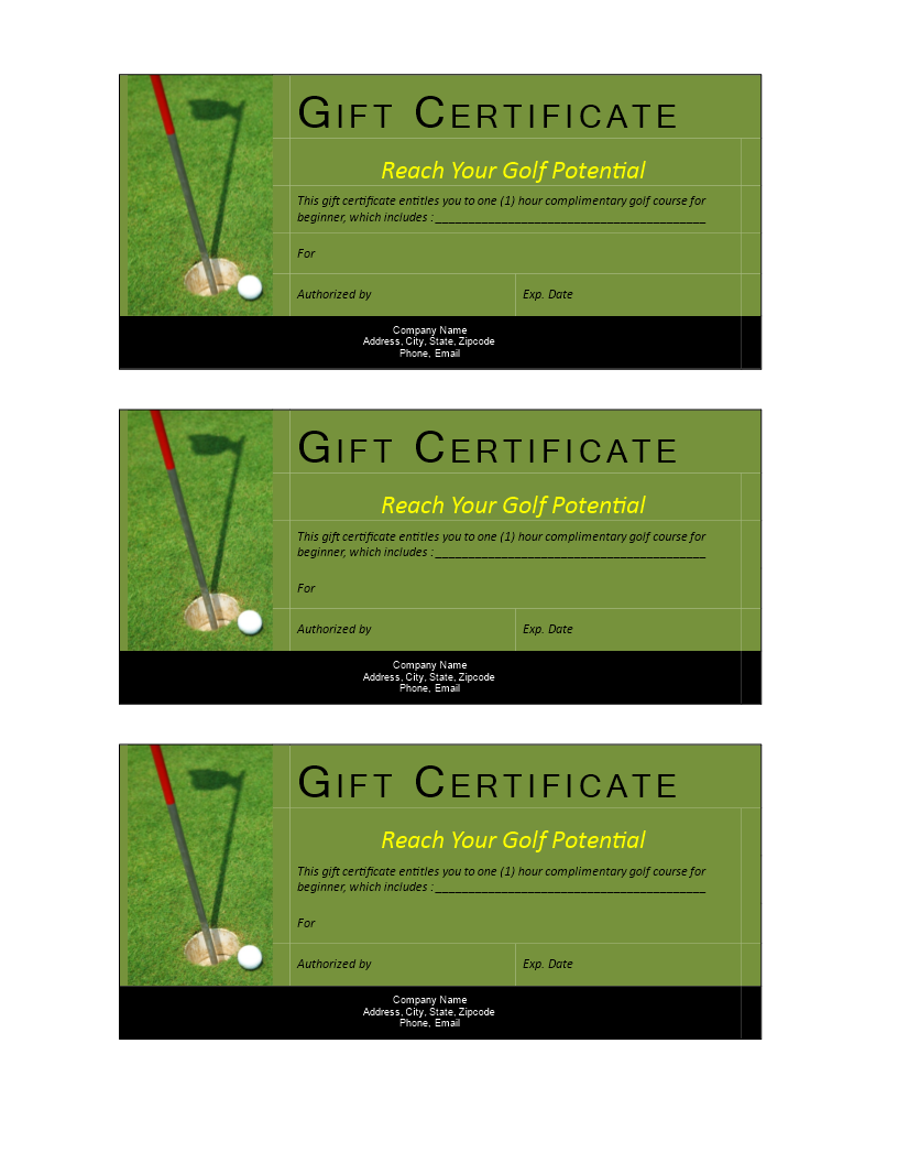 Golf Gift Non Cash Value Voucher Download This Free Printable Golf Gift V Gift Certificate Template Certificate Templates Christmas Gift Certificate Template