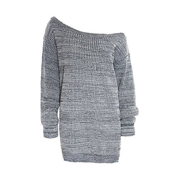 eade47e203976 Womens Ladies One Off The Shoulder Chunky Knit Knitted Oversized Tunic...  ( 11
