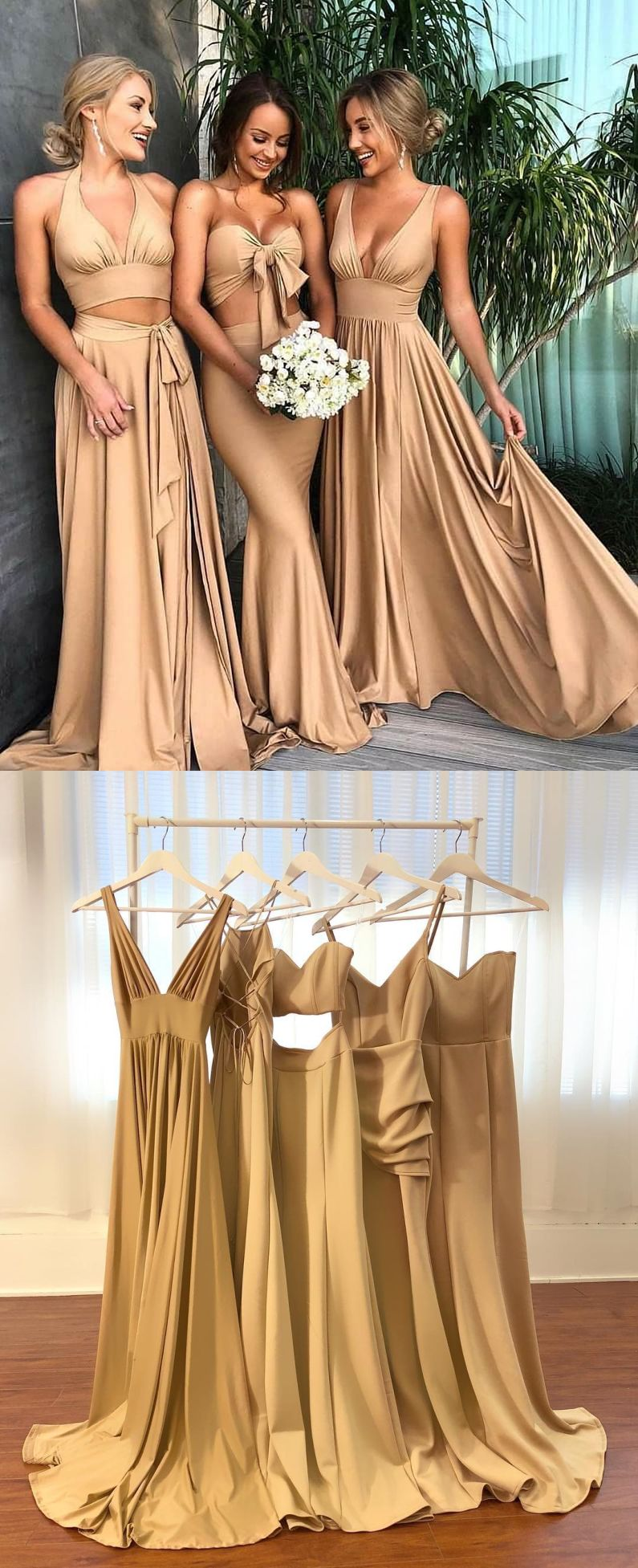Two piece halter backless long champagne bridesmaid dress long