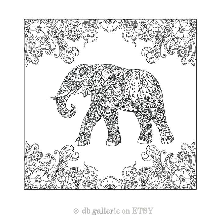 Henna Elephant in garden print - adult coloring poster by dbgallerie ...